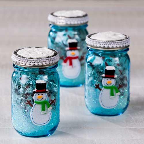 Blue Snowman Mason Jar