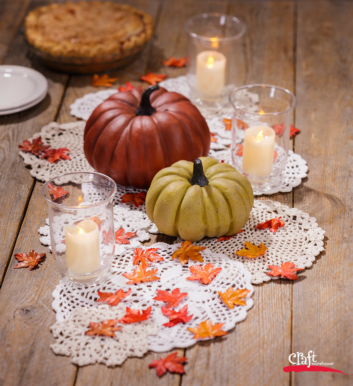 Make an Autumn Doily Table Runner How to from Craft Warehouse