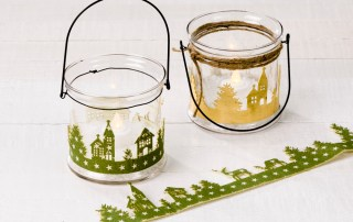 Darice glass candleholder bucket holiday snow trm