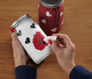 Americana chalky paint mason jar DIY
