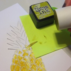 Hero Art Pineapple dir cut and tim holtz disstress ink