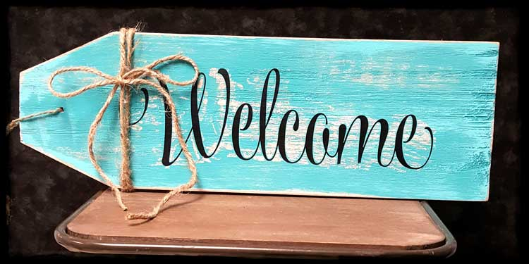Wooden Welcome Tag