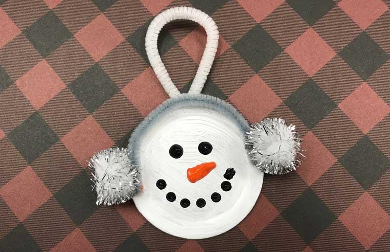 Mason Jar Lid Snowman Ornament