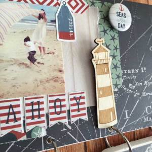 my minds eye by the sea scrapbook paper wood sign