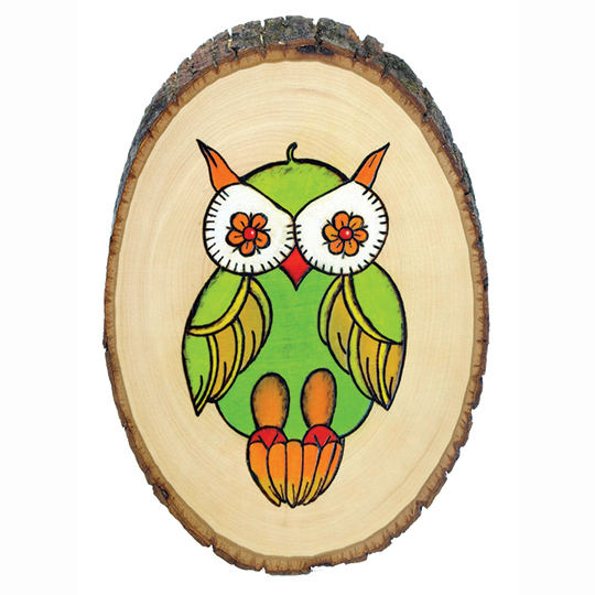 Wood burned owl on wood slice made with Versa Wood Burning Tool at Craft Warehouse
