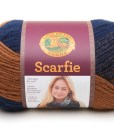 Scarfie brown and blue yarn