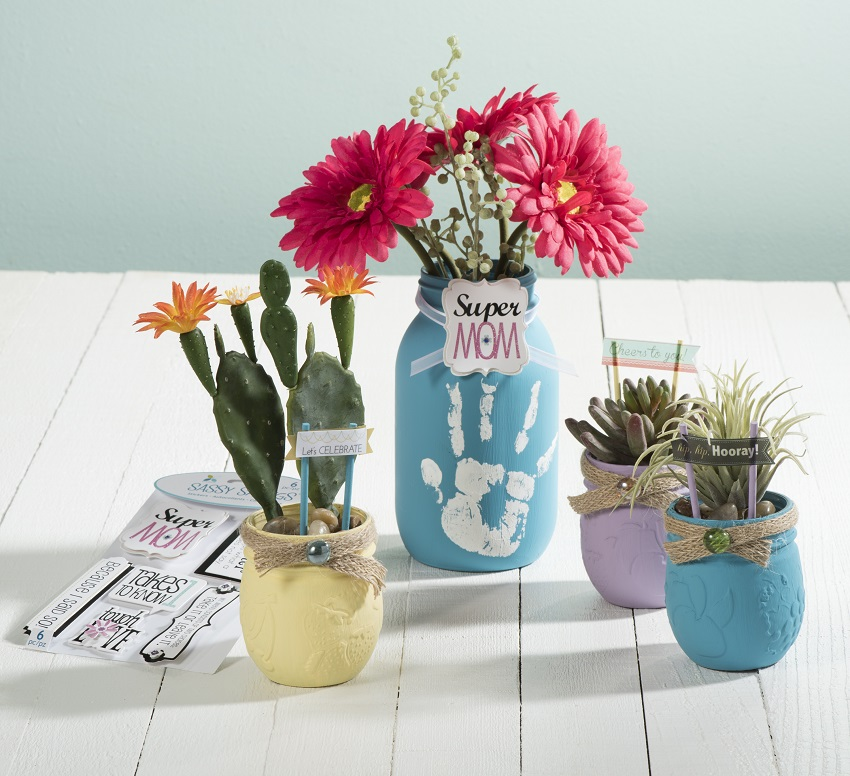 Americana chalky paint mason jar flower pot vase