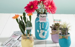 Americana chalky paint mason jar flower pot vase