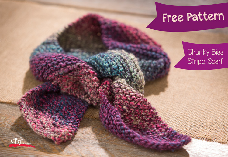 Make this Chunky Bias Stripe Scarf - Free Pattern at Craft Warehouse