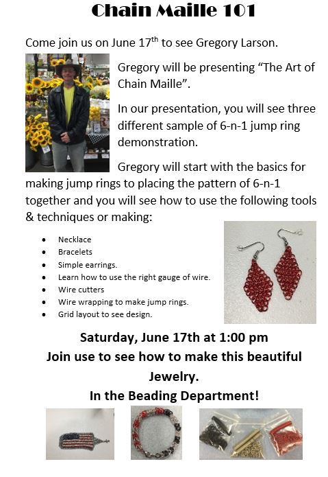 "Demo from Chain Maille Master ""Gregory Larson"" @ Hazel Dell Location 