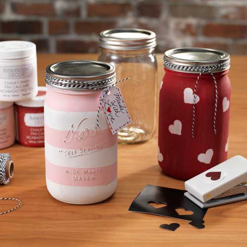 Chalkboard Paint, Mason Jar, Heart Punch