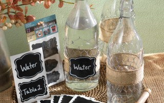 Chickenwire wraped burlap ribbon water bottle