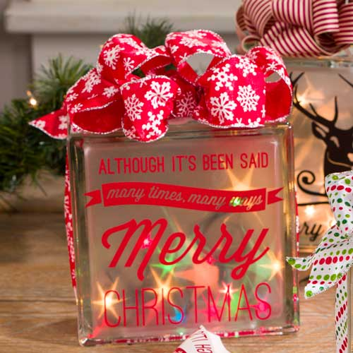 lighted glass block - Glass Block Christmas Decorations