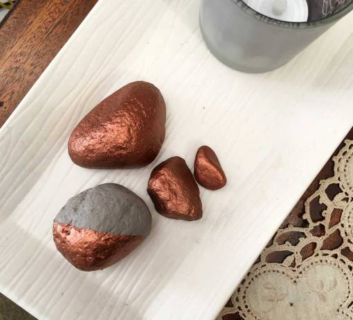 Copper Rocks made with Dazzling Metallics Paint