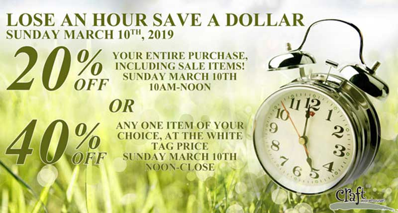 Daylight Savings Day Sale @ All Craft Warehouse Locations | Gresham | Oregon | United States