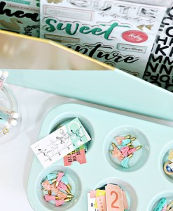 Cute Ceramic Muffin Tray and Paper Storage at Craft Warehouse in Mint Blue
