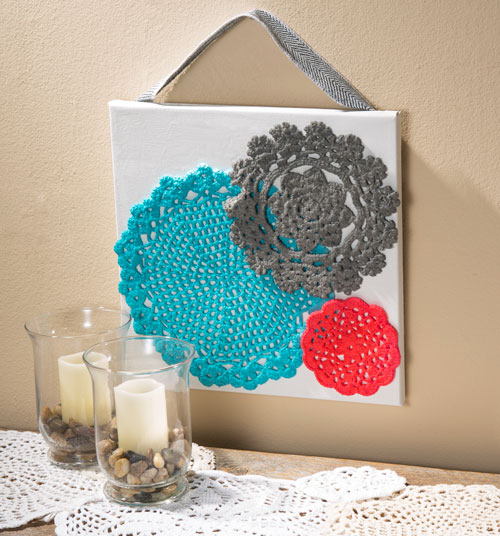 Have fun with Doilies - Dye Doilies and Mount on Canvas - Craft Warehouse