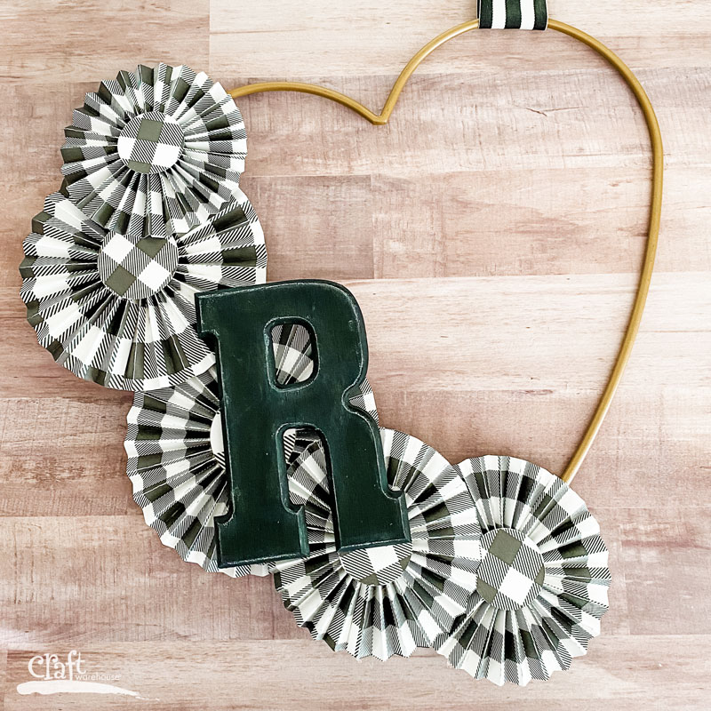 Paper Rosettes on a Heart Wreath