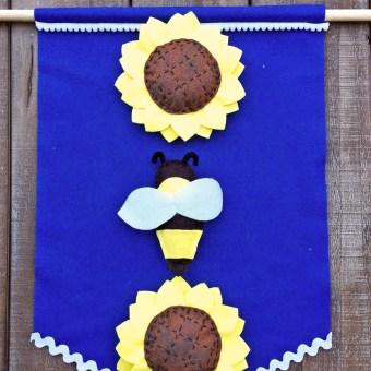 Sunflower Banner made from Felt Patterns