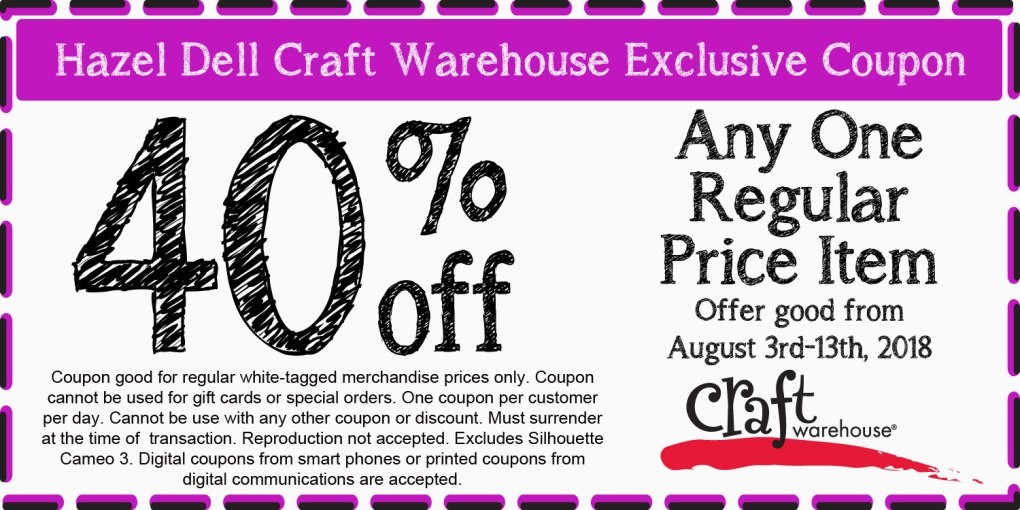40 off coupon offer hazel dell craft warehouse location
