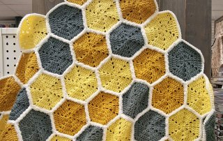 Crochet this Honeycomb Baby Blanket