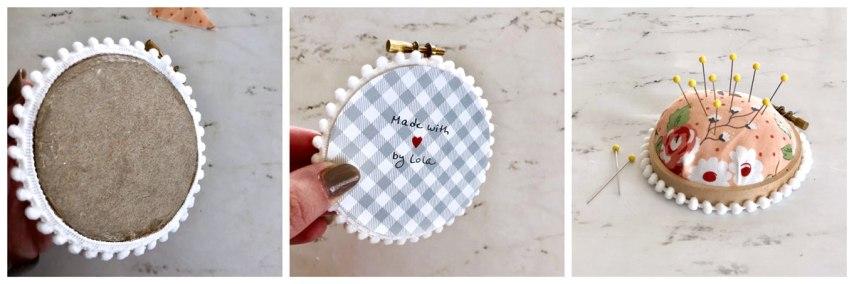 embroidery hoop pincushion tutorial