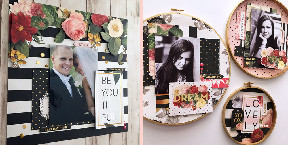 Creating scrapbook layouts with In Bloom Papers