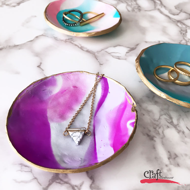 Make these marble jewelry dishes from clay at Craft Warehouse