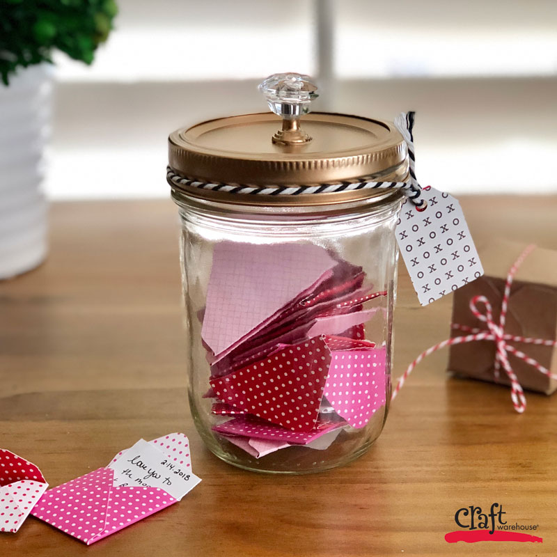 mason jar of love notes valentine 39 s craft with the mini envelope maker craft warehouse. Black Bedroom Furniture Sets. Home Design Ideas