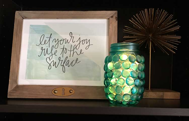lights in Glass Marbles on this Mason Jar with TintIT Spray from Craft Warehouse