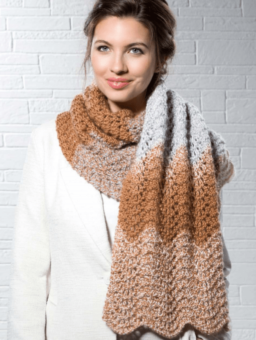 Mocha Ripple Scarf from Candy Shop Yarn by Premiere Yarns
