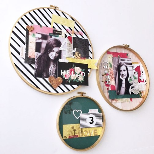 Use embroidery hoops with photos