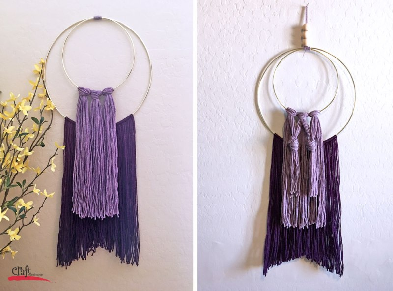 Purple Yarn and Hoop Wall Hanging from Craft Warehouse