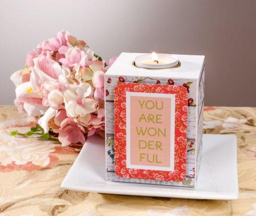 Single Wood Candle Holder Gift