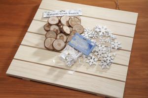 Wood slat board, Darice deco lights, wood star