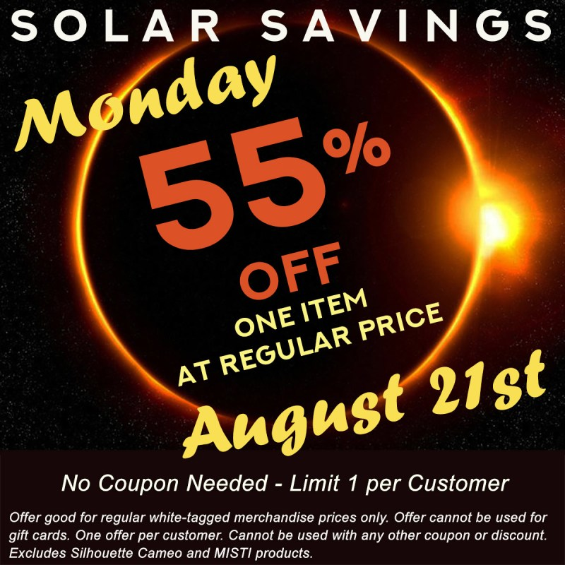 Solar Savings!  55% off One Item