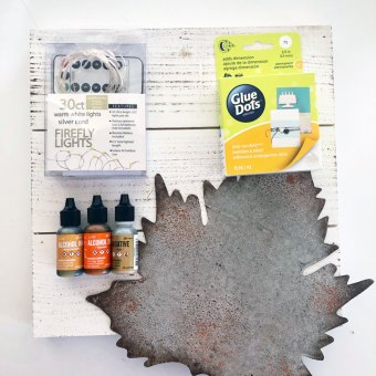 supplies for alcohol ink leaf wall art project