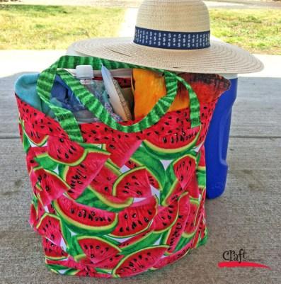 Make a flat bottom watermelon tote