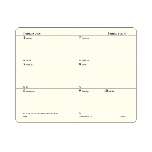 Week layout in a Leuchtturm Weekly Planners available at Craft Warehouse