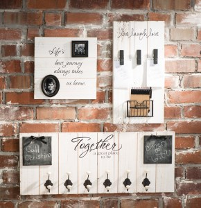 white wash wood board DIY organizer