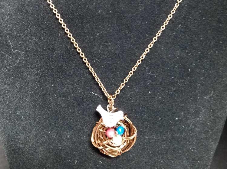 Wire Wrap Bird's Nest Necklace