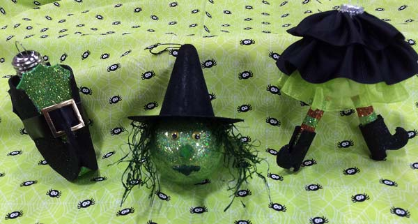 Make a three part witch ornament for Halloween decor
