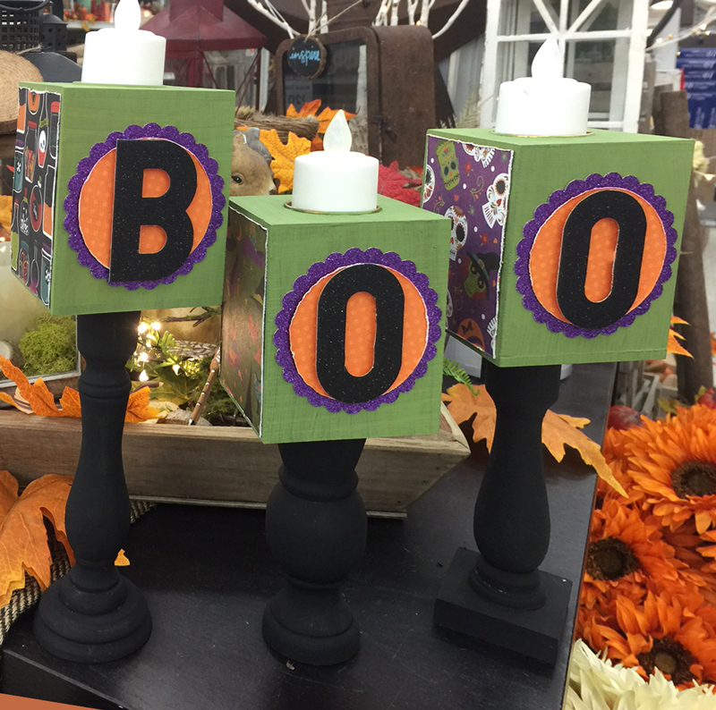 Boo Candle Stick Halloween holders