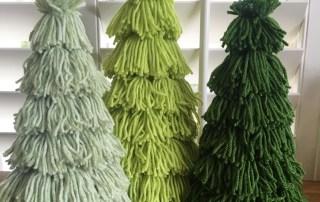 Yarn Tassel Pine Trees made on Cones