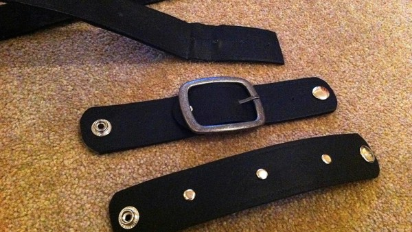 black studded leather wrist cuffs, made from an old belt