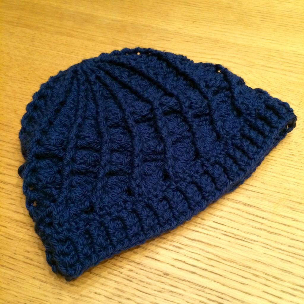 navy blue crochet beanie