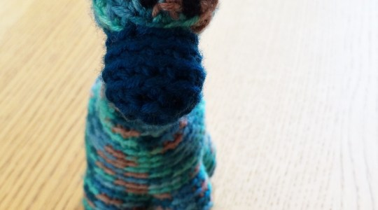 blue crocheted giraffe