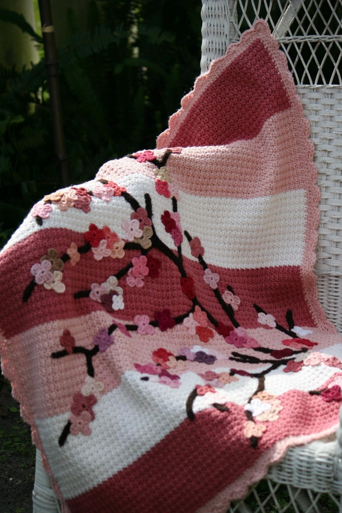 Crochet Cherry Blossom Baby Blanket Tutorial