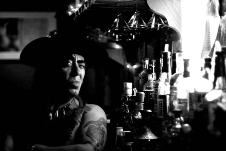 Black & White Photo of a Dark Bar