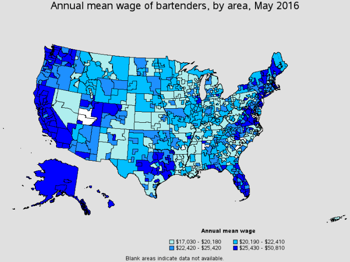 Map of the US presenting different pay grades